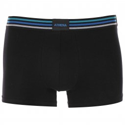 Lot de 3 boxers Athena Colorama en coton stretch Noir et Bleu