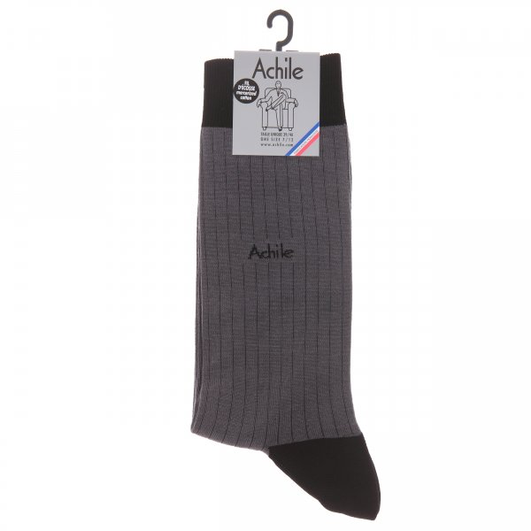 Chaussettes Achile Made in France en fil d'écosse anthracite