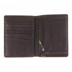 Portefeuille italien L'aiglon en cuir foulonné noir et surpiqûres blanches 66eZYl