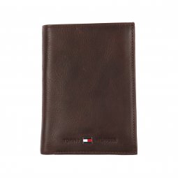 Portefeuille Européen Johnson Wallet Tommy Hilfiger en cuir grainé marron