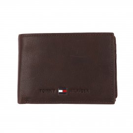 Petit portefeuille italien Johnson Mini Tommy Hilfiger en cuir grainé marron