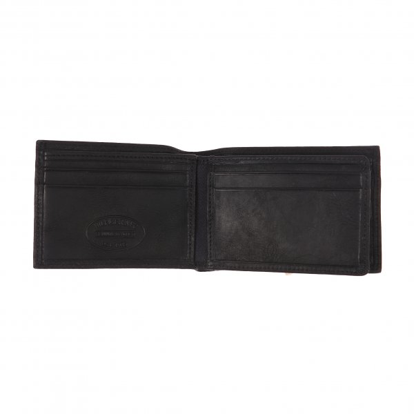 Petit portefeuille italien Johnson Mini Tommy Hilfiger en cuir grainé noir | Rue Des Hommes