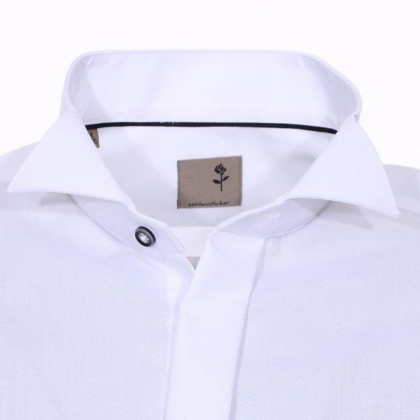 chemise c r monie seidensticker col cass en popeline de coton blanche sans repassage rue. Black Bedroom Furniture Sets. Home Design Ideas