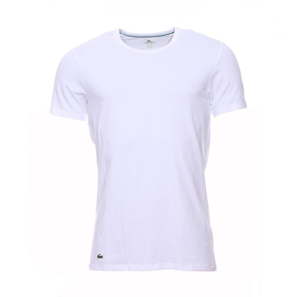 Tee-shirt col rond Essentials Lacoste en coton stretch blanc