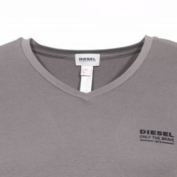Tee-shirt Diesel col V stretch gris
