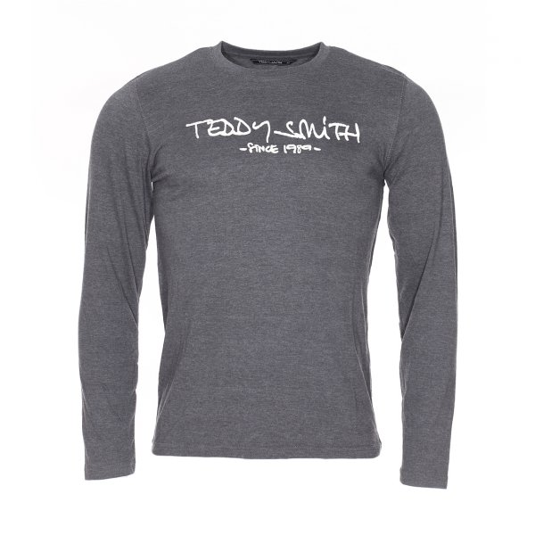 Tee-shirt manches longues et col rond Ticlass Teddy Smith en coton gris chiné