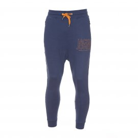 Pantalon de jogging sarouel Core by Jack & Jones en coton bleu marine avec inscriptions brodées