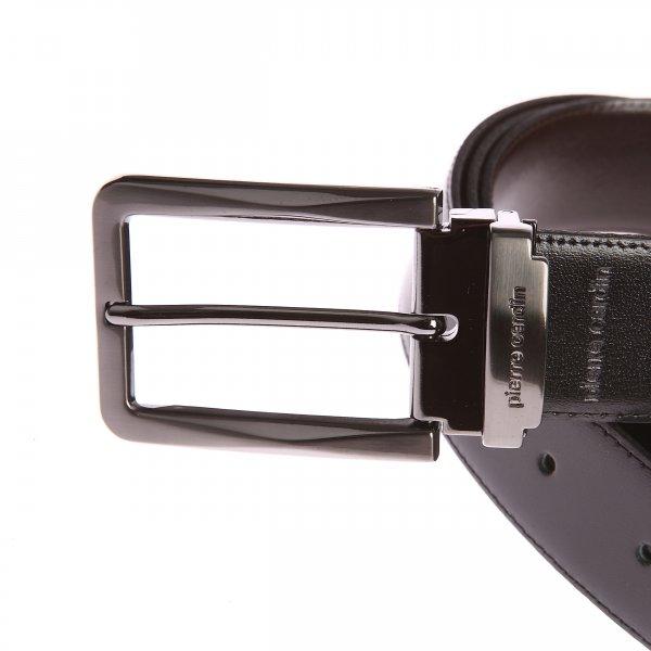 2259a365fe01a Coffret ceinture Pierre Cardin en cuir réversible noir et marron foncé à  boucles interchangeables : classique et pleine | Rue Des Hommes