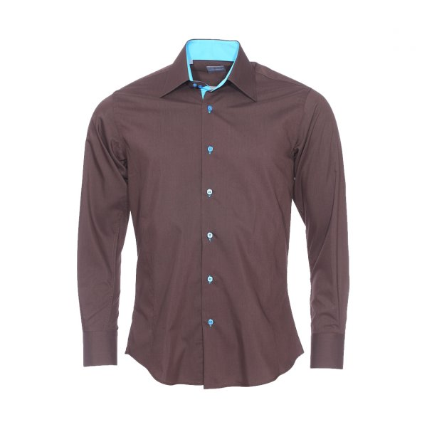 Chemise cintree Toldot en coton chocolat a opposition turquoise