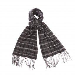 b26676ddf44b Echarpe douce Jean Chatel à carreaux noirs, gris clair, gris foncé, bleu  foncé