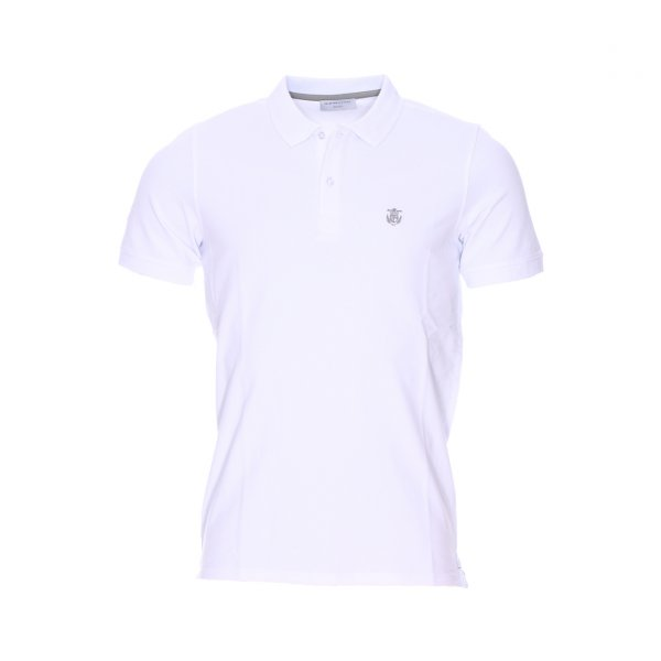 Polo Selected en coton stretch blanc, maille piquee