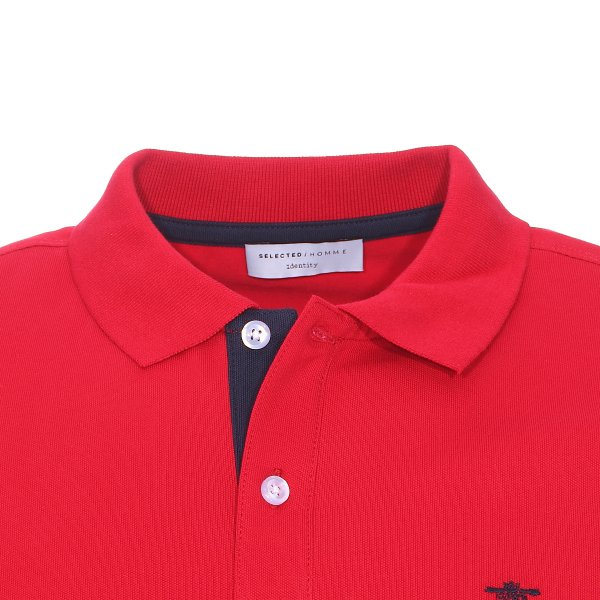 Polo Selected en coton stretch rouge, maille piquee