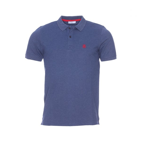 Polo Selected bleu chine a maille piquee