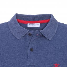 Polo Selected en maille piquée bleu chiné