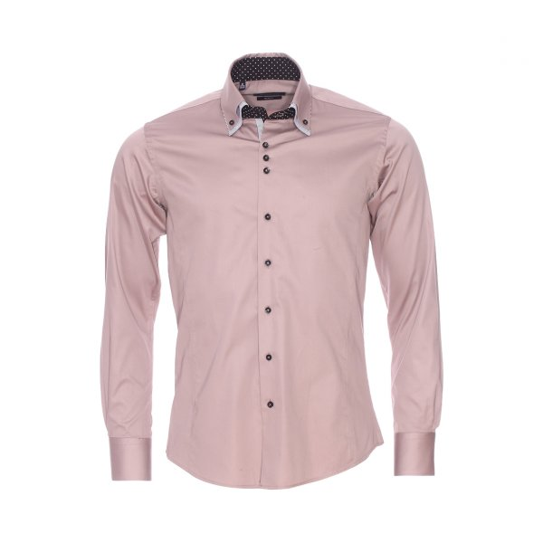 Chemise cintree Meadrine en coton taupe a opposition noire a pois blancs