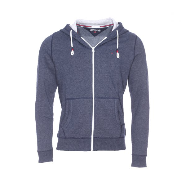 Sweat zippé à capuche Original Hilfiger Denim bleu marine chiné