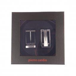 Coffret cadeau Pierre Cardin   Ceinture noire réversible et ajustable à  boucle classique et pleine striée ... 66ccfb9e3ef