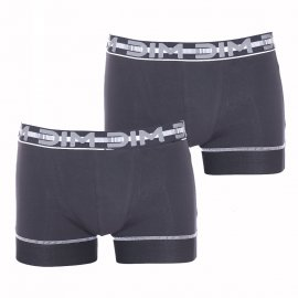 Lot de 2 boxers Dim 3D Stay and Fit en coton stretch noir