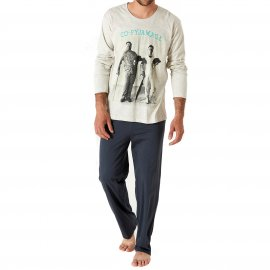 Pyjama long Arthur Co-Pyjamage : Tee-shirt manches longues écru et pantalon anthracite