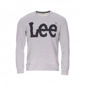 Sweat col rond Lee gris clair imprimé