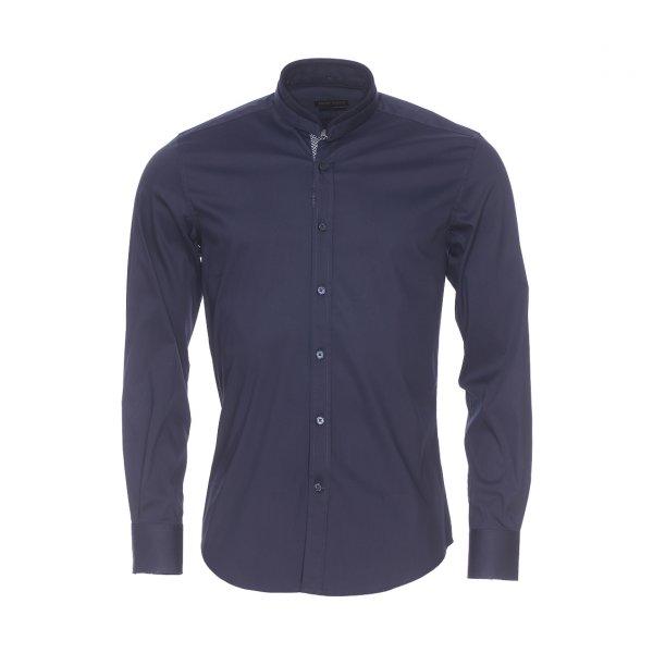chemise slim antony morato bleu marine col mao rue des hommes. Black Bedroom Furniture Sets. Home Design Ideas