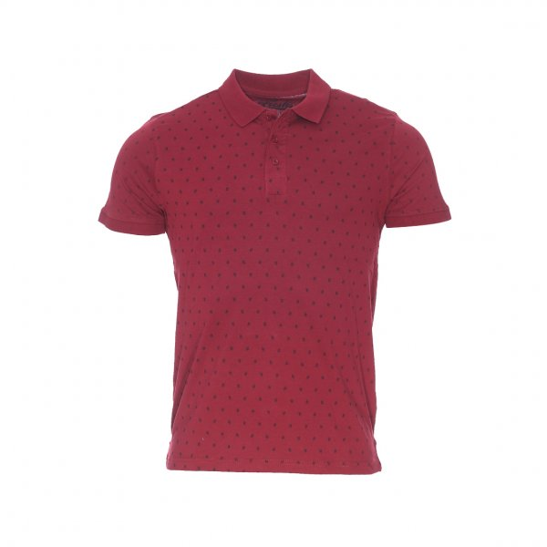 Polo The Fresh Brand en coton bordeaux à motif dièse