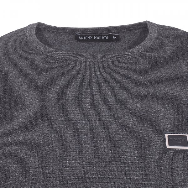 Pull col rond Antony Morato gris anthracite chiné