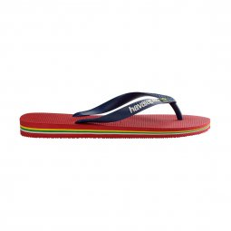 Tongs Havaianas Brasil logo rouges à brides bleu marine
