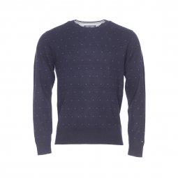 Pull col rond Tommy Hilfiger en coton bleu marine à petits motifs gris ... 503f758314d7