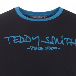 Tee-shirt Ticlass Teddy Smith noir et bleu pétrole