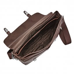 Porte-documents/ordinateur 15 pouces Graham Fossil en cuir marron, style cartable
