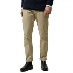 Pantalon chino Selected beige à ceinture marron clair