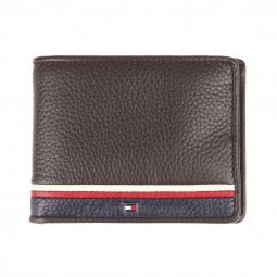Mini portefeuille italien Tommy Hilfiger Corporate en cuir marron