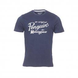 bbb9f2b999f9 Tee-shirt col rond Original Penguin en coton bleu marine floqué en feutrine  blanche ...