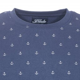 Sweat col rond The Fresh brand bleu marine à imprimés ancres marines blanches