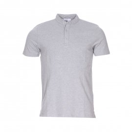 Polo col mao Selected en coton gris chiné