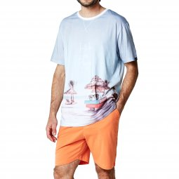Pyjama court Arthur Intello de plage : tee-shirt col rond à imprimé plage et short orange