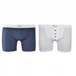 Duo de boxers Made in France bleu marine et blanc Mike Vs Floyd