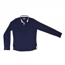 Polo Manches Longues en coton Bleu Marine The Sailor