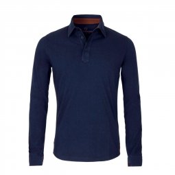 Polo Manches Longues en coton Bleu Marine The Mountaineer