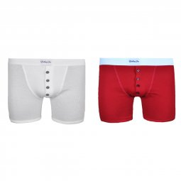 Duo de boxers Made in France blanc et rouge Floyd Vs Cassius