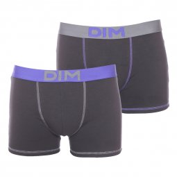 Lot de 2 boxers Mix & Colors Dim en coton stretch noir à ceinture grise et bleue