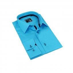 Chemise Coton Homme Turquoise Ethan