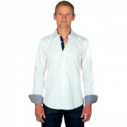 Chemise Coton Homme Blanche Vichy Marine