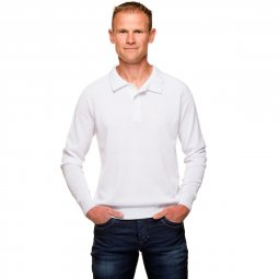 Pull Blanc Col Polo Homme Coton