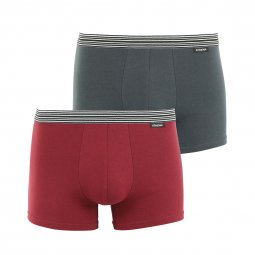 Lot de 2 boxers Athena en coton stretch gris anthracite et rouge