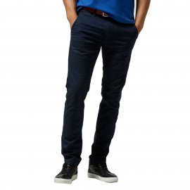 Pantalon chino Selected en coton stretch bleu marine