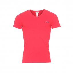 Tee-shirt col V Diesel en coton stretch rouge