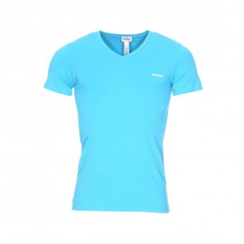 Tee-shirt col V Diesel en coton stretch turquoise