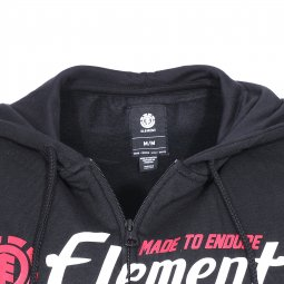 Sweat zippé à capuche Signature Element en molleton noir floqué